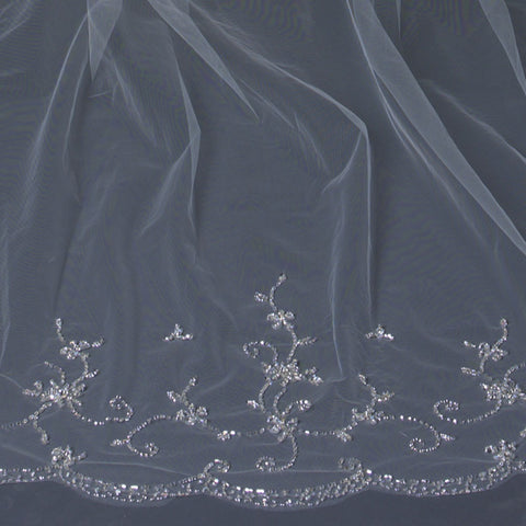 Single Layer Cathedral Length Scalloped Cut Edge Bridal Wedding Veil with Swirly Beaded Embroidery & Sequins V 1134 1C