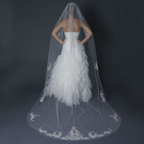 Single Layer Cathedral Length Cut Edge Bridal Wedding Veil with Floral Silver Embroidery & Beads