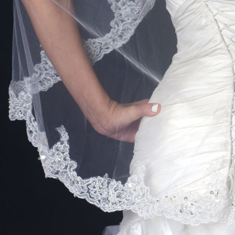 Single Layer Fingertip Length Scalloped Edge Bridal Wedding Veil with Floral Lace Embroidery, Pearls & Sequins