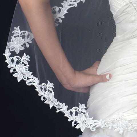 Single Layer Fingertip Length Floral Lace Embroidery Edge Bridal Wedding Veil 1138