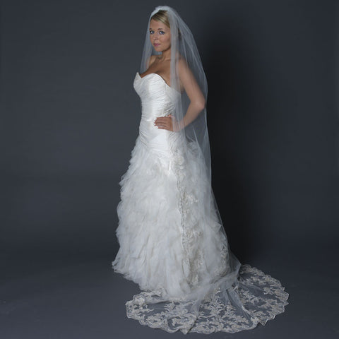 Single Layer Cathedral Length Scalloped Edge Bridal Wedding Veil with Floral Lace Embroidery 1139