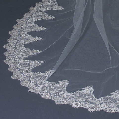 Single Layer Cathedral Length Scalloped Edge Bridal Wedding Veil with Floral Lace Embroidery V 1140 1C