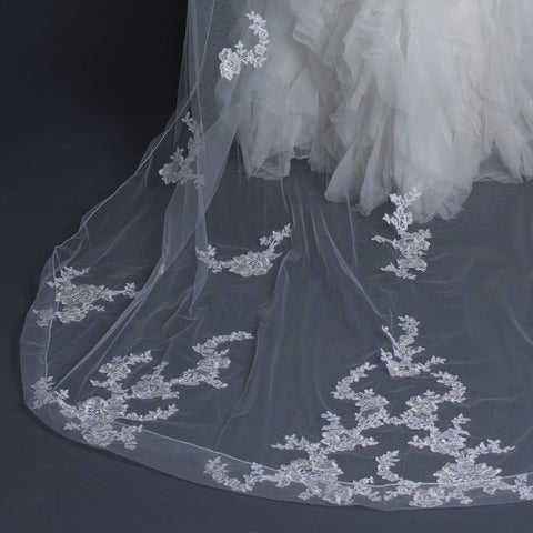 Single Layer Cathedral Length Cut Edge Bridal Wedding Veil with Floral Lace Embroidery V 1141 1C