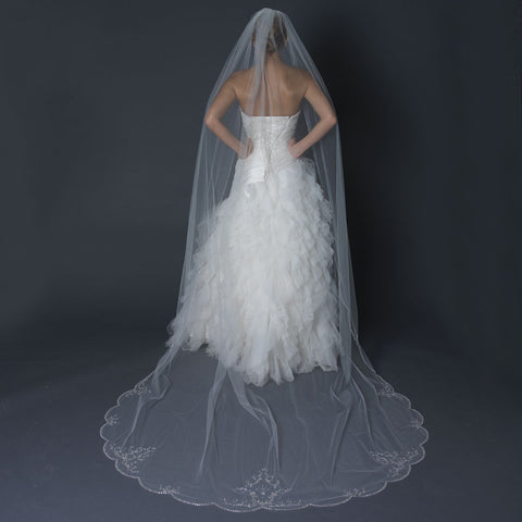 Single Layer Cathedral Length Scalloped Edge Bridal Wedding Veil with Swirly Lace Embroidery & Rhinestones V 1144 1C