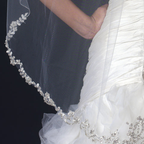 Single Layer Fingertip Length Floral Lace Embroidery Edge Bridal Wedding Veil with Beads 1145