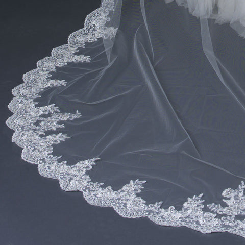 Single Layer Cathedral Length Scalloped Edge Bridal Wedding Veil with Floral Lace Embroidery V 1147 1C