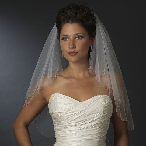 Double Layer Bridal Wedding Veil with Dangling Crystals and Accented Scalloping Edge 115
