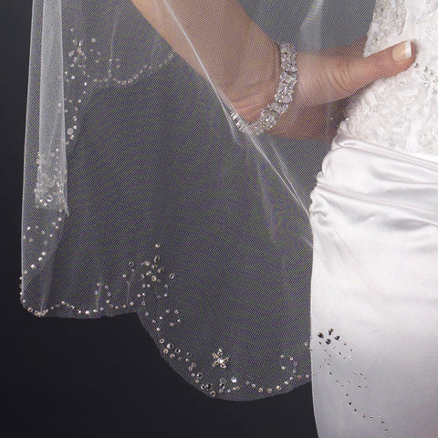 Bridal Wedding Single Layer Fingertip Scalloped Floral Beaded Edge Bridal Wedding Veil 116 1F (White or Ivory)