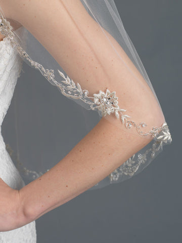Single Layer Bridal Wedding Fingertip Veil w/ Beads, Rhinestones, Crystals & Pearl Accents Veil V 1162 1F