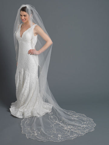 Single Layer Bridal Wedding Cathedral Veil w/ Beads, Rhinestones, Crystals & Pearl accents V 1163 1F