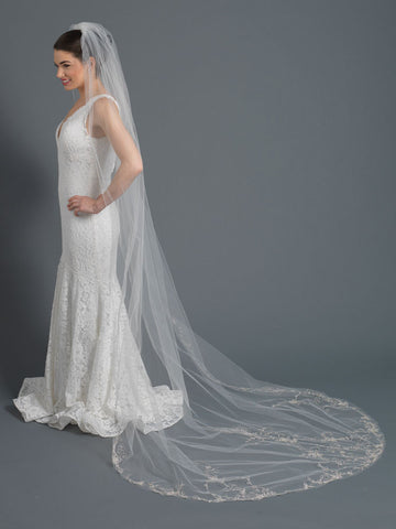 Single Layer Bridal Wedding Cathedral Veil w/ Light Silver Floral Embroidery Accented w/ Rhinestones & Beads V 1164