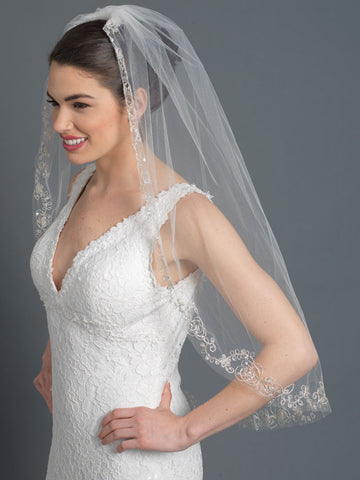 Single Layer Bridal Wedding Fingertip Veil w/ Silver Floral Rose Embroidery w/ Sequins, Bugle Beads & Crystals V 1166