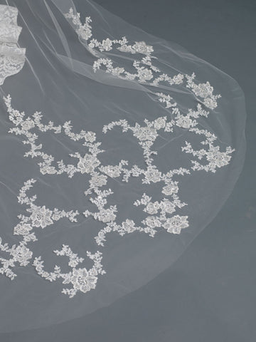 Single Layer Bridal Wedding Cathedral Veil w/ Rose Floral Applique w/ Sequins, Beads & Rhinestones V 1167 1C