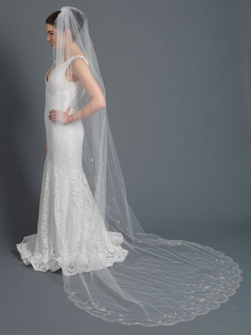 Single Layer Bridal Wedding Cathedral Length Bridal Veil w/ Faceted Teardrop Floral Crystals, Bugle Bead & Sequin Embrodery V 1169 1C