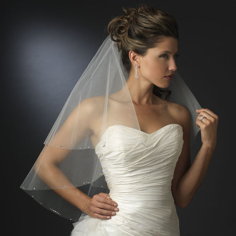 Double Layer Elbow Length Bridal Wedding Veil wit Sparkling Edge of Rhinestones 117