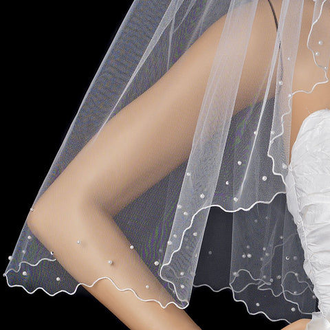 Bridal Wedding Single Layer Elbow Length Scalloped Bridal Wedding Veil 124 1E