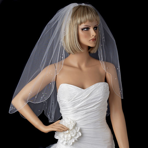 Single Scallop Edge Bridal Wedding Veil with Scattered Rhinestone & Pearl Accents 125