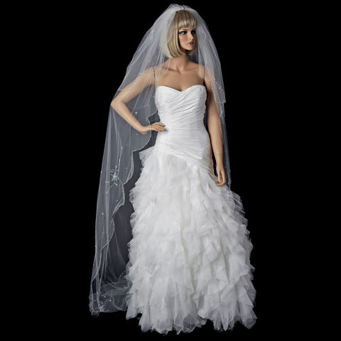 2 Tier Elbow and Cathedral Length Beaded Bridal Wedding Veil (V 150)