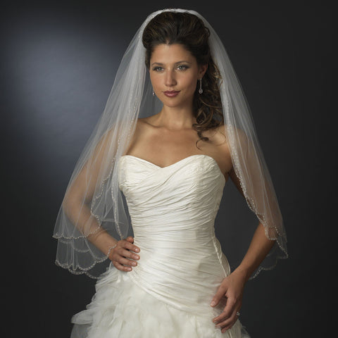Double Layer Elbow Length Scalloped Edge with Bugle Beads Bridal Wedding Veil 1504 E