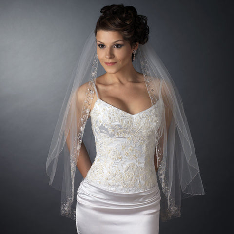 Bridal Wedding Double Layer Fingertip Length Bridal Wedding Veil 1514 F w/ Silver Floral Embroidered Scalloped Pencil Edge