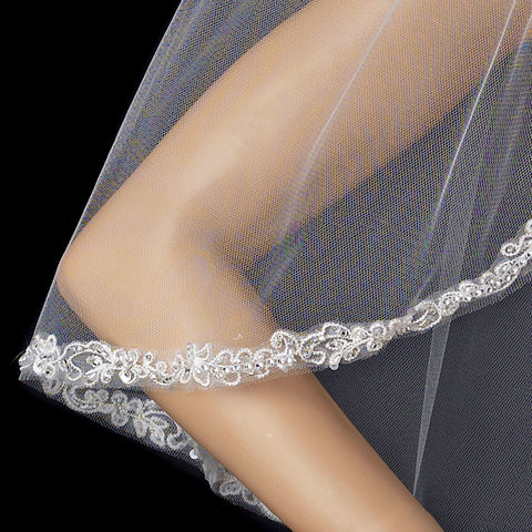 Single Layer Elbow Length Bridal Wedding Veil with Decadent Cut Edge of Embroidery & Accents 1560