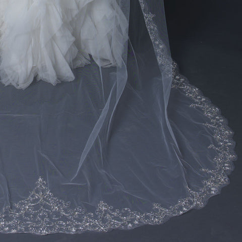Single Layer Bridal Wedding Veil with Vintage Sequins on Scalloping Cut Edge 1568