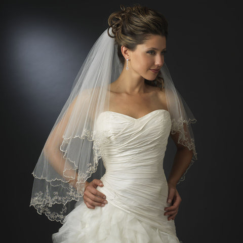 Double Layer Fingertip Length Floral Scalloped Corded Bugle Beaded Edge Bridal Wedding Veil 1661 F