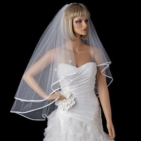 Bridal Wedding Double Layer Fingertip Bridal Wedding Veil 1721 w/Satin Ribbon Edge w/Scattered Flowers & Pearls