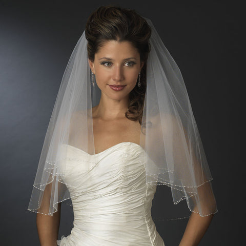 Bridal Wedding Single Layer Elbow Length Pearl & Bugle Beaded Edge Bridal Wedding Veil 174