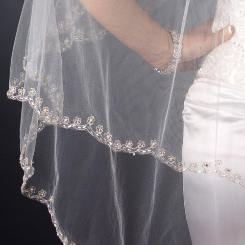 Double Layer Bridal Wedding Veil with Embroidered Floral Pattern on Pearl & Bead Scalloped Edge 1780