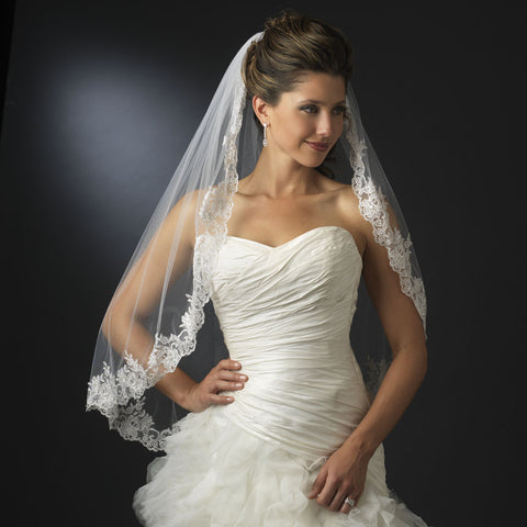 Single Layer Fingertip Length Bridal Wedding Veil with Floral Lace Embroidery Edge of Sequins & Beads 1794