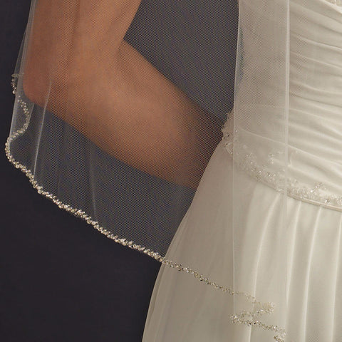 Single Layer Fingertip Length Bridal Wedding Veil with Pearl & Beaded Edge 1834