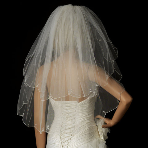 "Bridal Wedding Veil 2006 - Fingertip Bridal Wedding Veil with Crystal Drop Accents (30"" x 36"" long)"