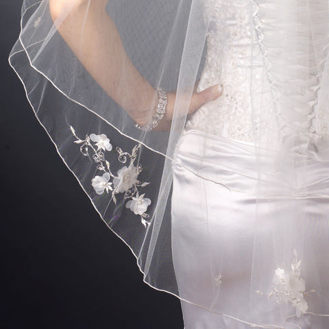 Double Layer Fingertip Length Satin Corded Edge with Sheer Organza Flowers & Bugle Beads Bridal Wedding Veil 2007 F