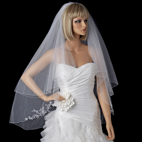 Two Tier Fingertip Length Bridal Wedding Veil with Flower Pattern Pencil Edge of Rhinestones & Pearls 2008