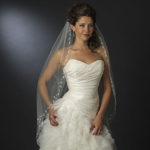 Single Layer Bridal Wedding Veil with Crystals & Silver Vine Embroidery 201