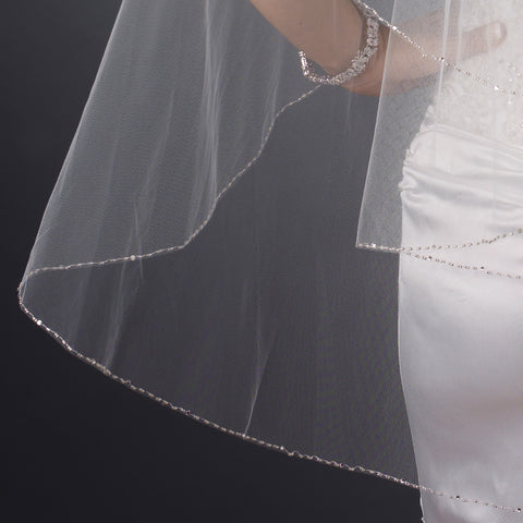 Double Tier Fingertip Length Bridal Wedding Veil with Rhinestone & Bugle Beaded Edge in Ivory 2017