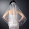 2 Tier Silver Embroidered Flowers Fingertip Bridal Wedding Veil (V 2022)