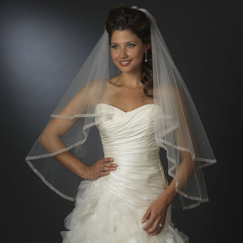 "Fingertip 2 Layer 30"" and 36"" with Chiffon Edge Bridal Wedding Veil (V 2023)"