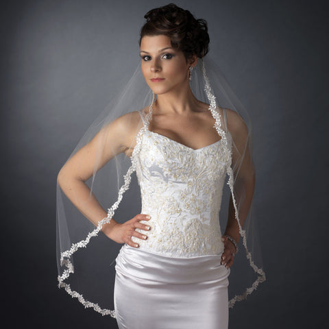 Single Layer Fingertip Length Embroidered Flowers & Pearls Bridal Wedding Veil 2030 1F