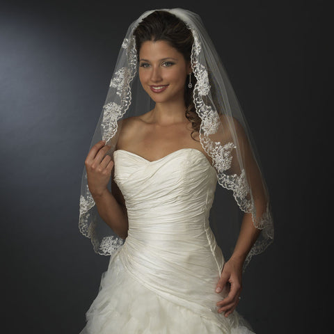 Single Layer Fingertip Length Floral Embroidered Edge with Bugle Beads Bridal Wedding Veil 2041 1F