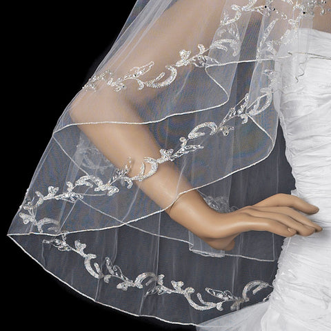 Double Layer Fingertip Length Bridal Wedding Veil with Floral Embroidery & Pencil Style Edge 2094