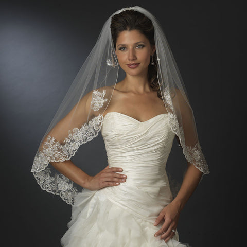 Single Layer Fingertip & Cathedral Length Silver Floral Embroidered Edge Bridal Wedding Veil 2128