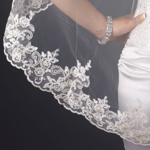 Single Layer Fingertip & Cathedral Length Scalloped Floral Embroidered Edge with Bugle Beads & Sequins Bridal Wedding Veil 2129 1F Also available in Cathedral