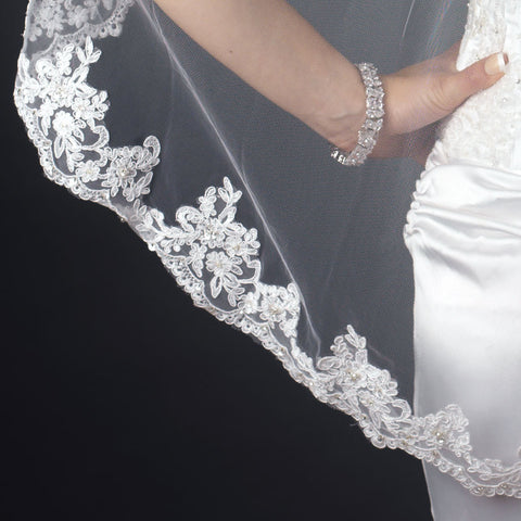 Single Layer Fingertip Length Scalloped Floral Embroidered Edge with Bugle Beads & Pearls Bridal Wedding Veil 2138 1F