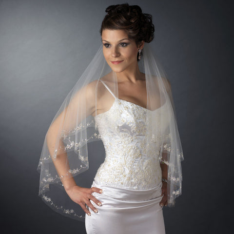Double Layer Fingertip Length Cut Edge with Embroidered Flowers, Bugle Beads & Sequins Bridal Wedding Veil 2209 F