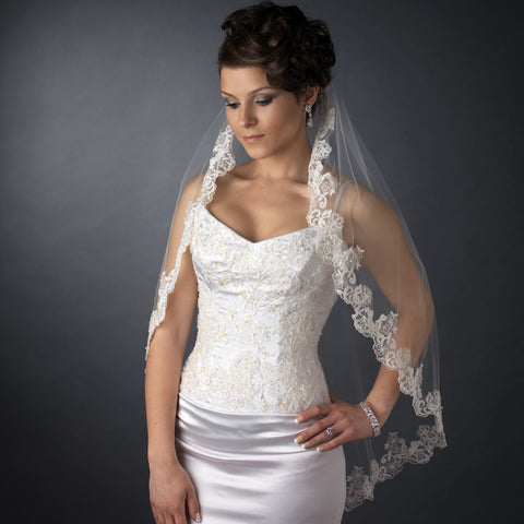 Single Layer Fingertip Length Scalloped Floral Embroidered Edge with Pearls Bridal Wedding Veil 2220 1F