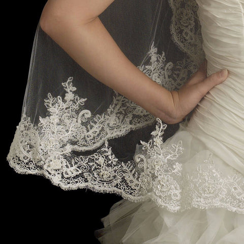 Single Layer Fingertip Length Scalloped Edge Bridal Wedding Veil with Floral Lace Embroidery, Pearls, Rhinestones, Bugle Beads & Sequins