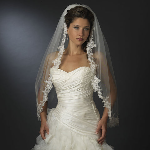 Single Layer Fingertip Length Floral Embroidered Edge with Pearls Bridal Wedding Veil 2237 1F