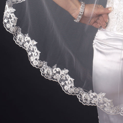 Single Layer Fingertip Length Scalloped Edge with Bugle Beads & Sequins Bridal Wedding Veil 2282 1F
